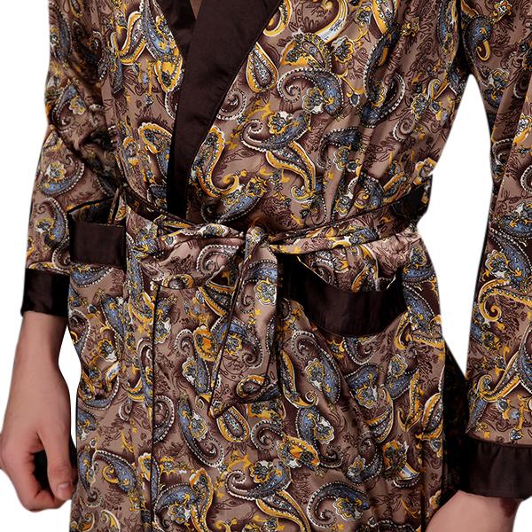 Mens Imitation Silk Pajamas Autumn Sleepwear Long Sleeve Home Dress Robe