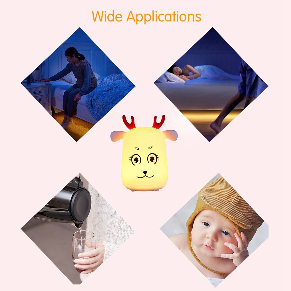 Novel Cute LED Rechargeable Silicone Deer Night Light Tap Control Bedroom Home Decor Lamp Kids Gift
