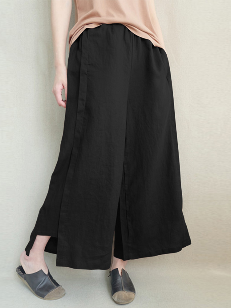 Women Elastic Waist Wide Legged Flare Pants