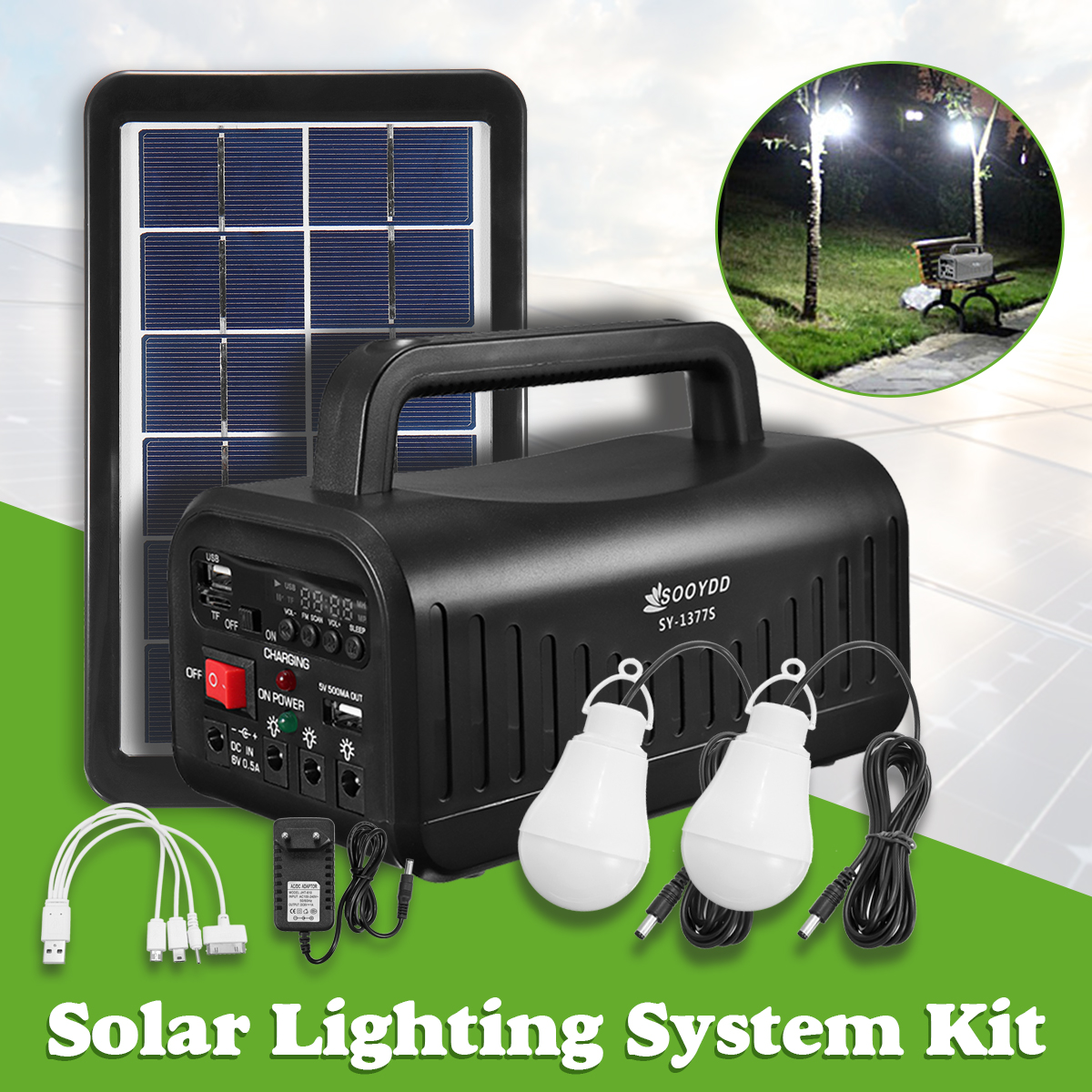 DC 6V 3W Solar Powered System Solar Panel Rechargeable Battery LED Flashlight Camping Tent Light