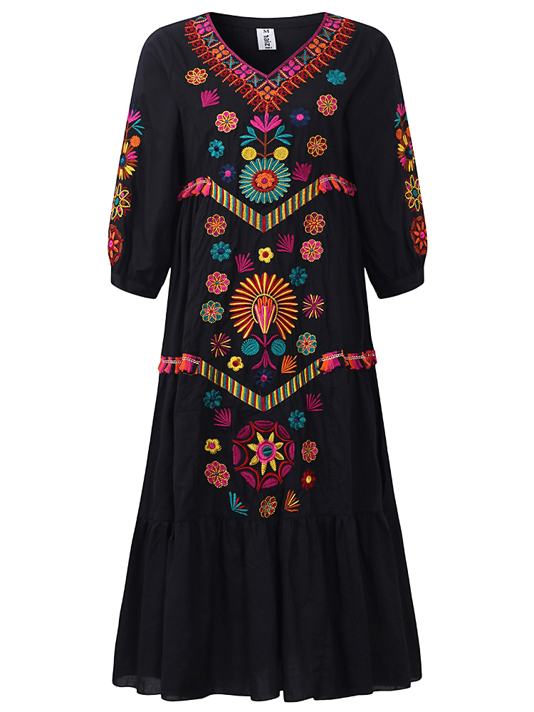 Bohemian Women Long Sleeve V-Neck Embroidered Maxi Dress