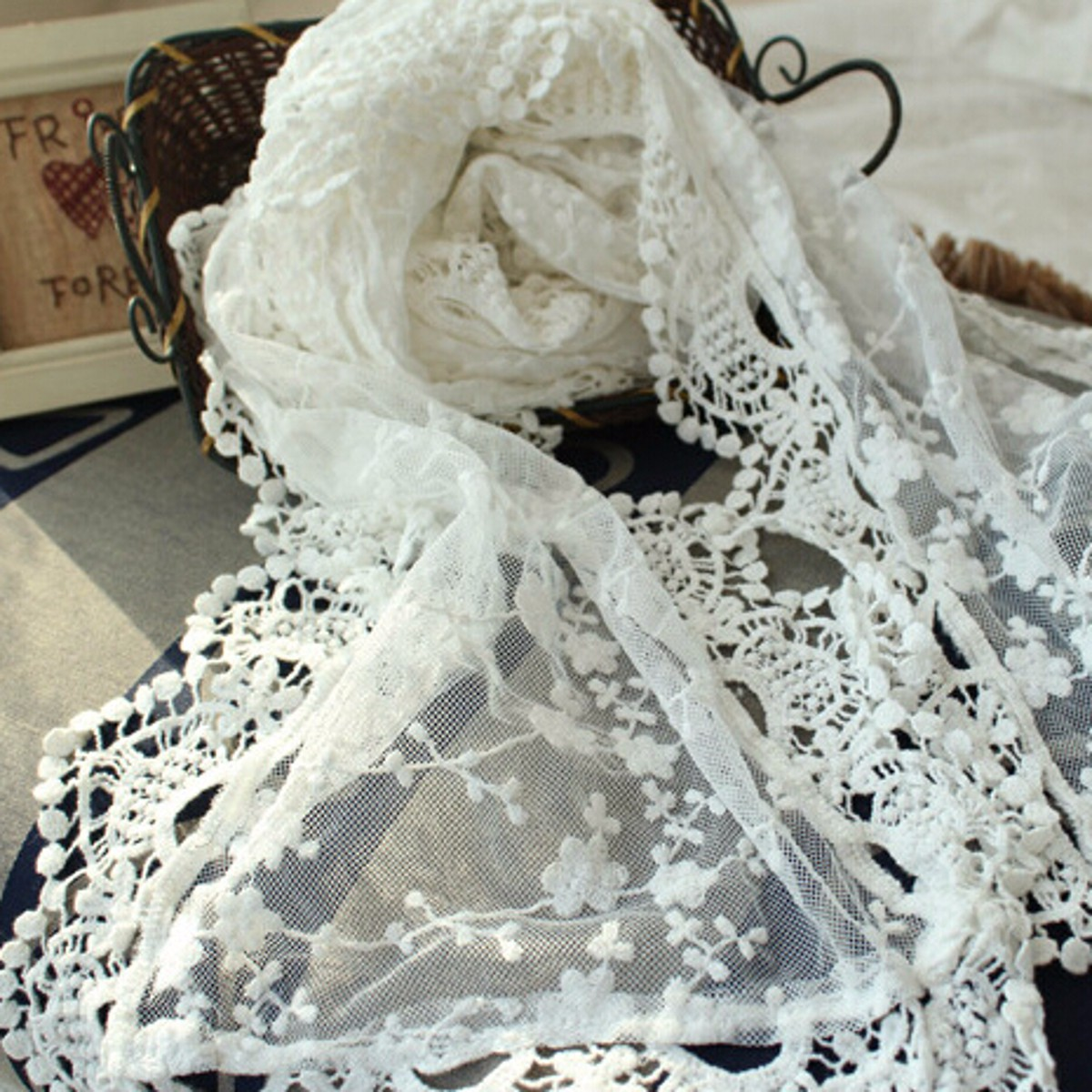 Women Ladies Embroidery Floral Crochet Mesh Lace Trim Scarf Transparent Long Shawl