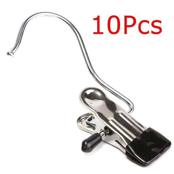 10Pcs Stainless Steel Clothes Coat Hanger Clips for Home Travelling Laundry