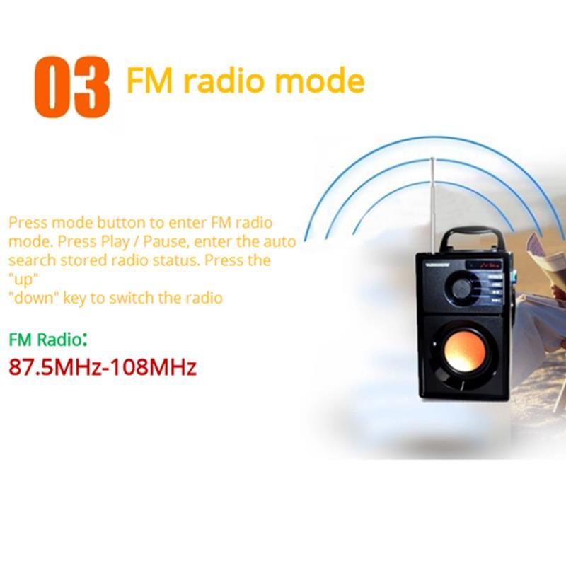 VAENSON A10 Portable Wireless bluetooth Speaker USB Column MP3 Play FM Radio Stereo Subwoofer