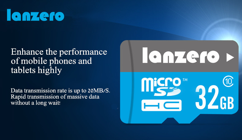 Lanzero 32G Class 10 High speed Storage TF Card Memory Card for Mobile Phone