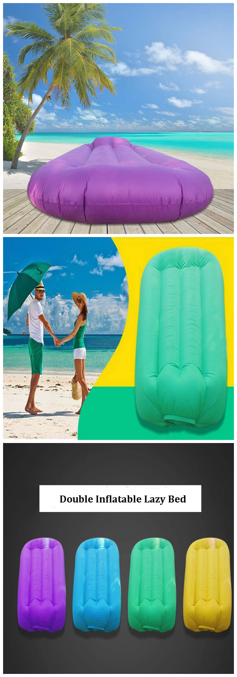 IPRee® 210T Nylon Fast Air Inflatable Lazy Bed Portable Mini Double Sleeping Sofa Max 250kg Load