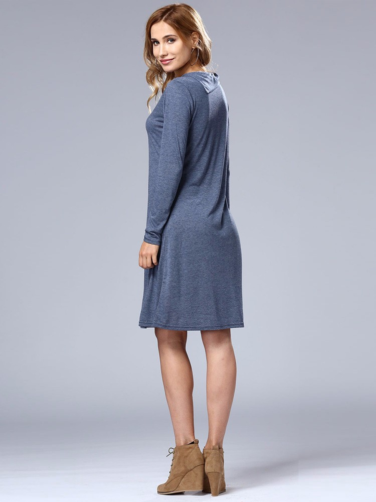 Blue Casual Women Long Sleeve Loose Basic Dress