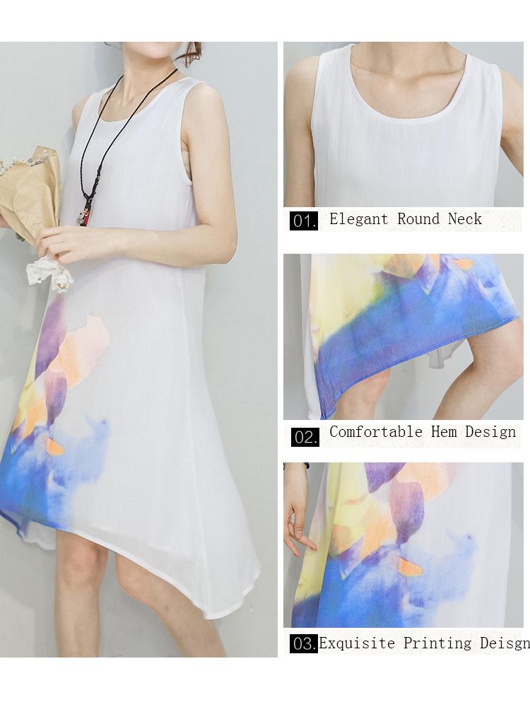Elegant Women Sleeveless Printing High Low Cotton Linen Dress