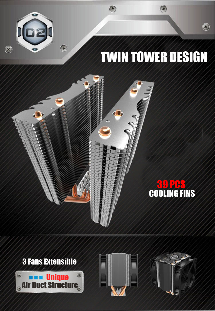 Pccooler S102 Twin Tower Design 4 Copper Heat Pipes CPU Cooler Cooling Fans Heat Sink For Intel AMD