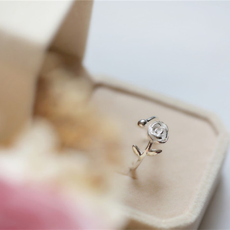 Trendy Open Finger Ring 925 Silver Rose leaves Plants Simple