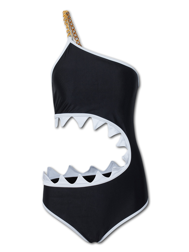 One Shoulder Shark Mouth One Piece Swimwear