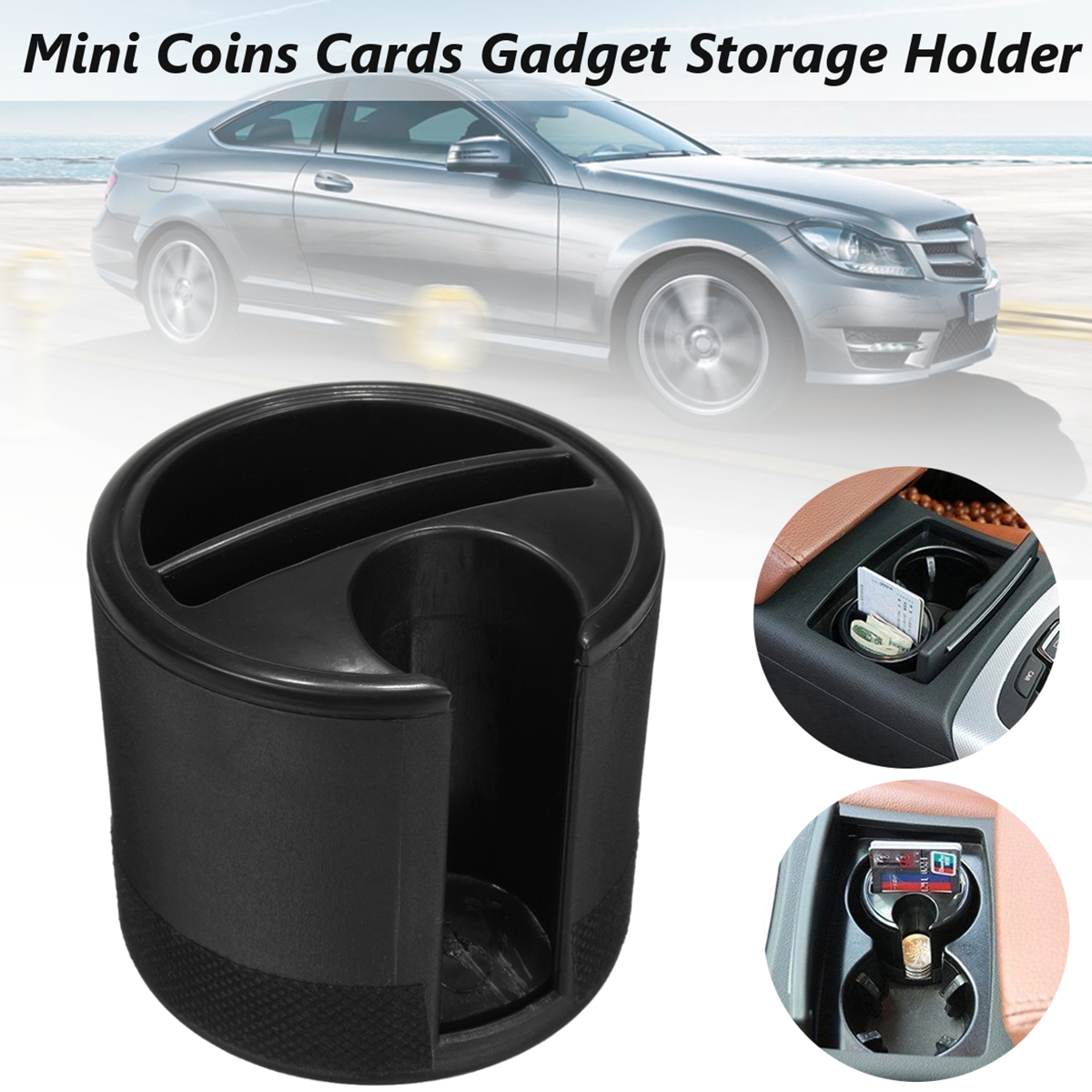 Multi-functional ABS Car Mini Key Coins Cup Holder Cards Gadget Independent Storage Box Slot Black