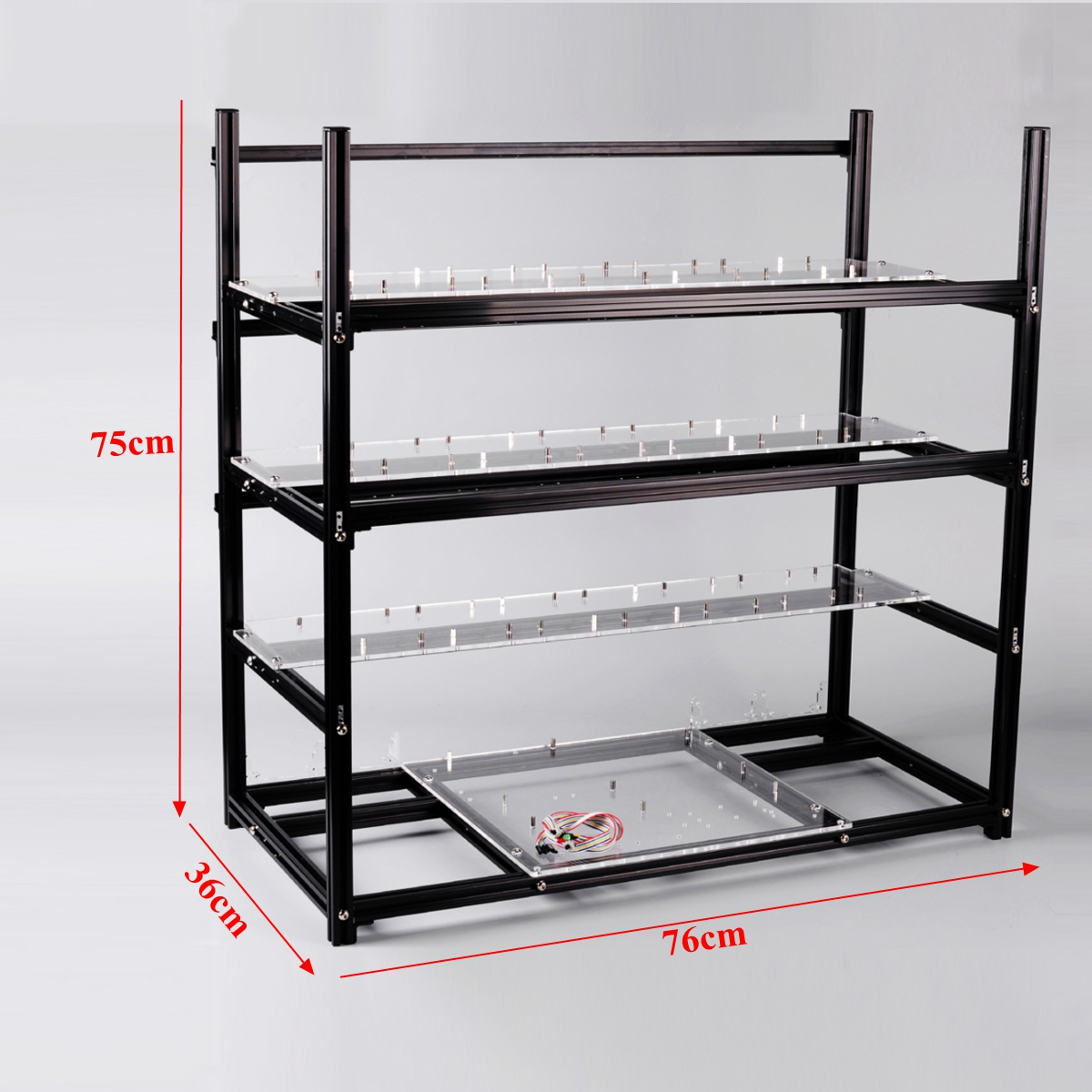 19 GPU Open Air Stackable Mining Rig Frame Miner Case For ETC BTH With 18 Cooling Fans