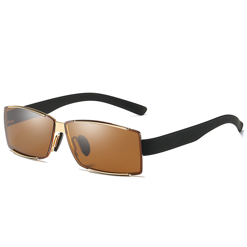 Mens Outdoor Square Rimless Luxury UV400 Polarized Sunglass