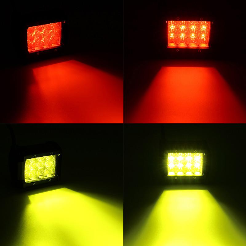 4Inch 12LED 24W Car Truck Off-road LED Work Light Bar Driving Fog Flood Beam Lamp Red Yellow