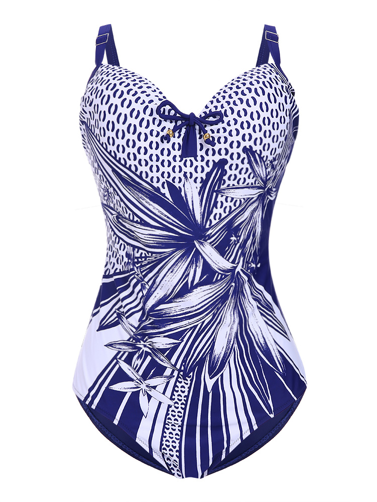 Plus Size Printed Hollow Out Back Women Swimsuit