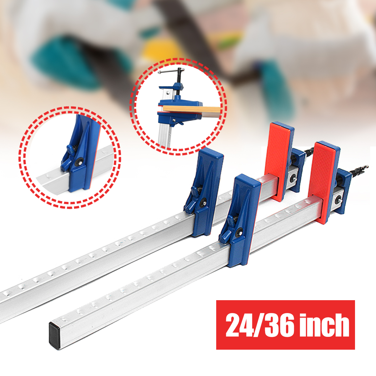 24/36 Inch Aluminum F-Clamp Bar Heavy Duty Holder Grip Release Parallel Adjustable Woodworking Tool
