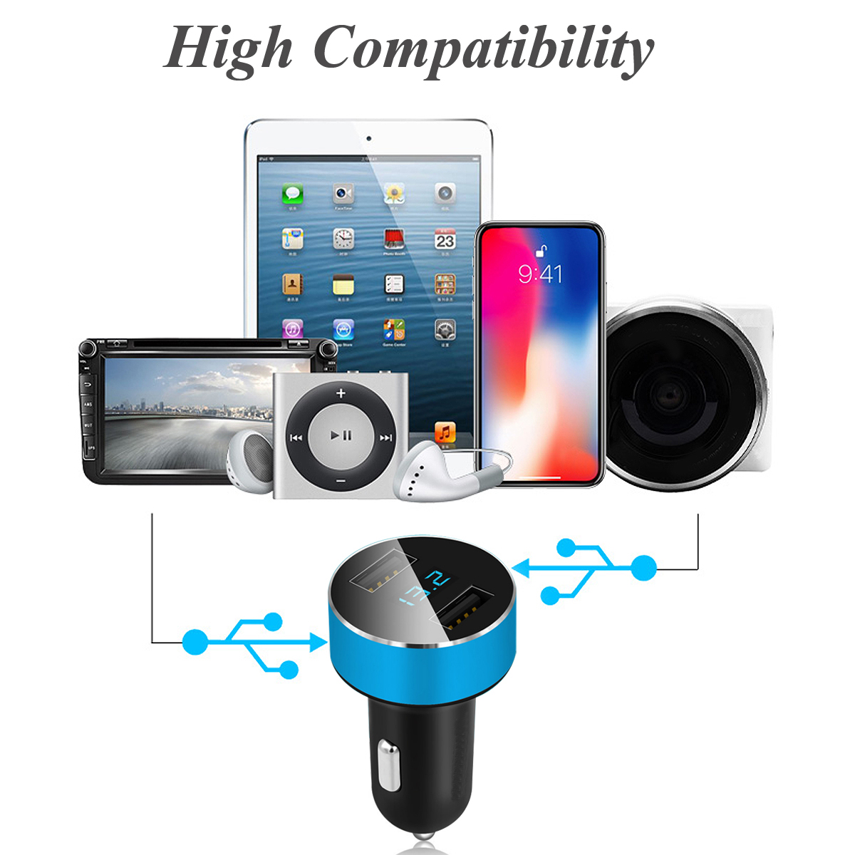 Dual USB Car Fast Charger Adapter LED Display for Phone Universal