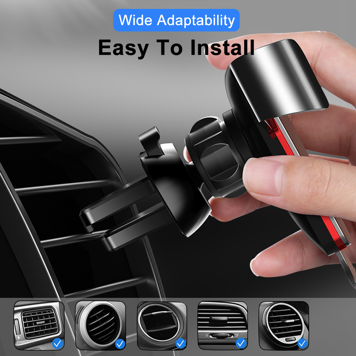 Cafele Metal Gravity One-handed Operation Air Vent Car Mount Car Phone Holder 360 Degree Rotation For 4.0-6.5 Inch Smart Phone