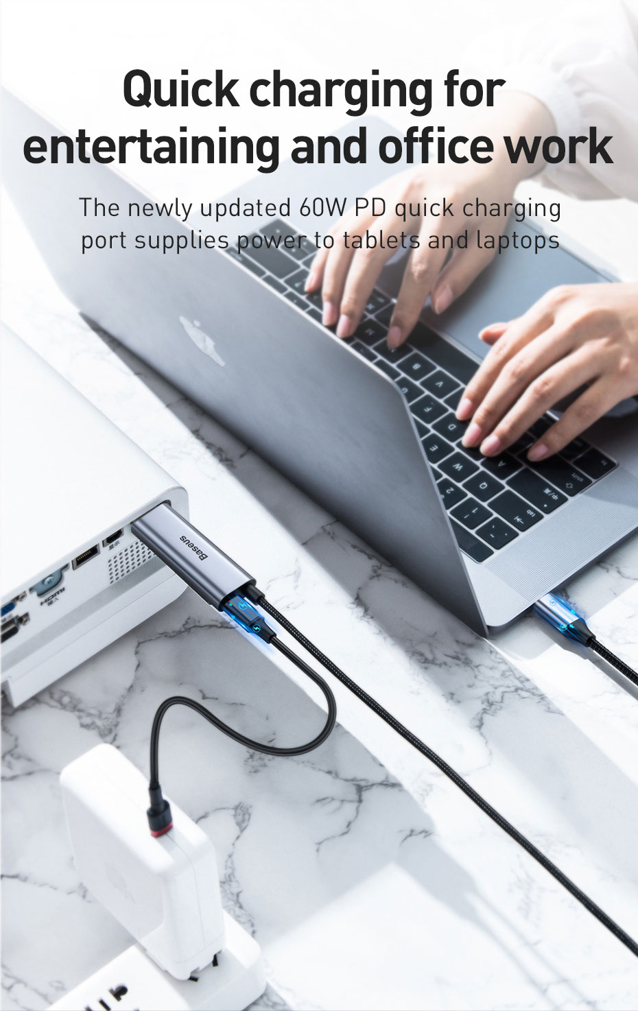 Baseus Type-C USB-C Adapter Converter To 4K/HD Display + Type-C Port PD Fast Charging Max 60W For Type-C Smart Phone Samsung Huawei Tablet iPad Laptop MacBook