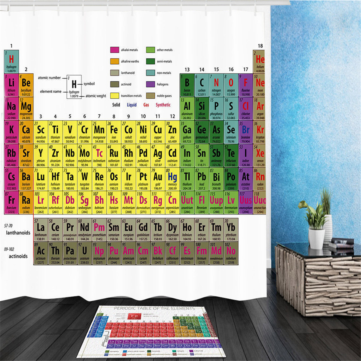 180x180cm Periodic Table Of Elements Polyester Shower Curtains Panel Bathroom Sheer Decorations