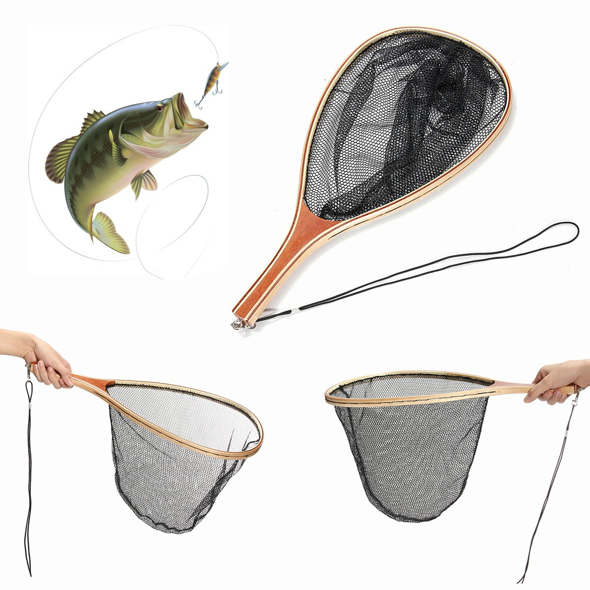 Fly Fishing Landing Nylon Net Mesh Catch Release Net Wo
