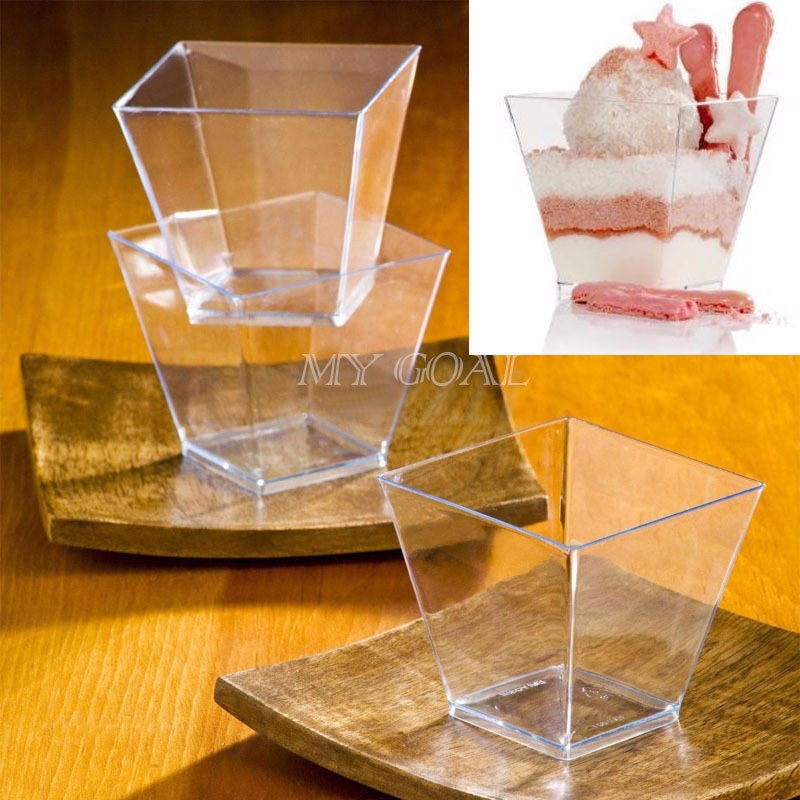 40pcs Plastic Square Mousse Cake Dessert Cup Sample Drink Jelly Tumbler Party Wedding Decor