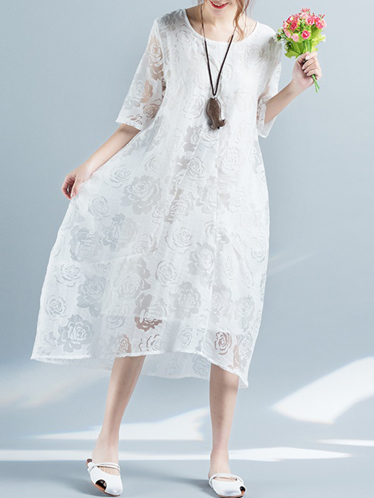 Folk Style Women Jacquard Half Sleeve Loose Dresses