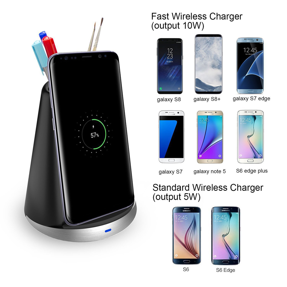 Qi 2 Coils Dual Mode Fast Charge Wireless Charger with Pen Hoder for iPhone 8 Plus X Samsung S8
