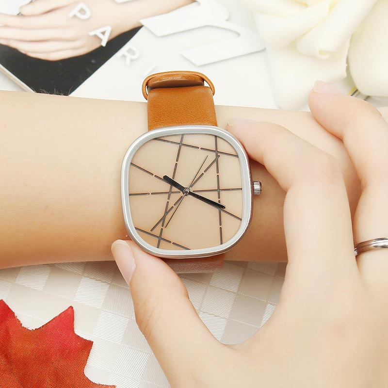 Fashion Unisex Watches Simple Square Creative Dail Leather Strap Watches