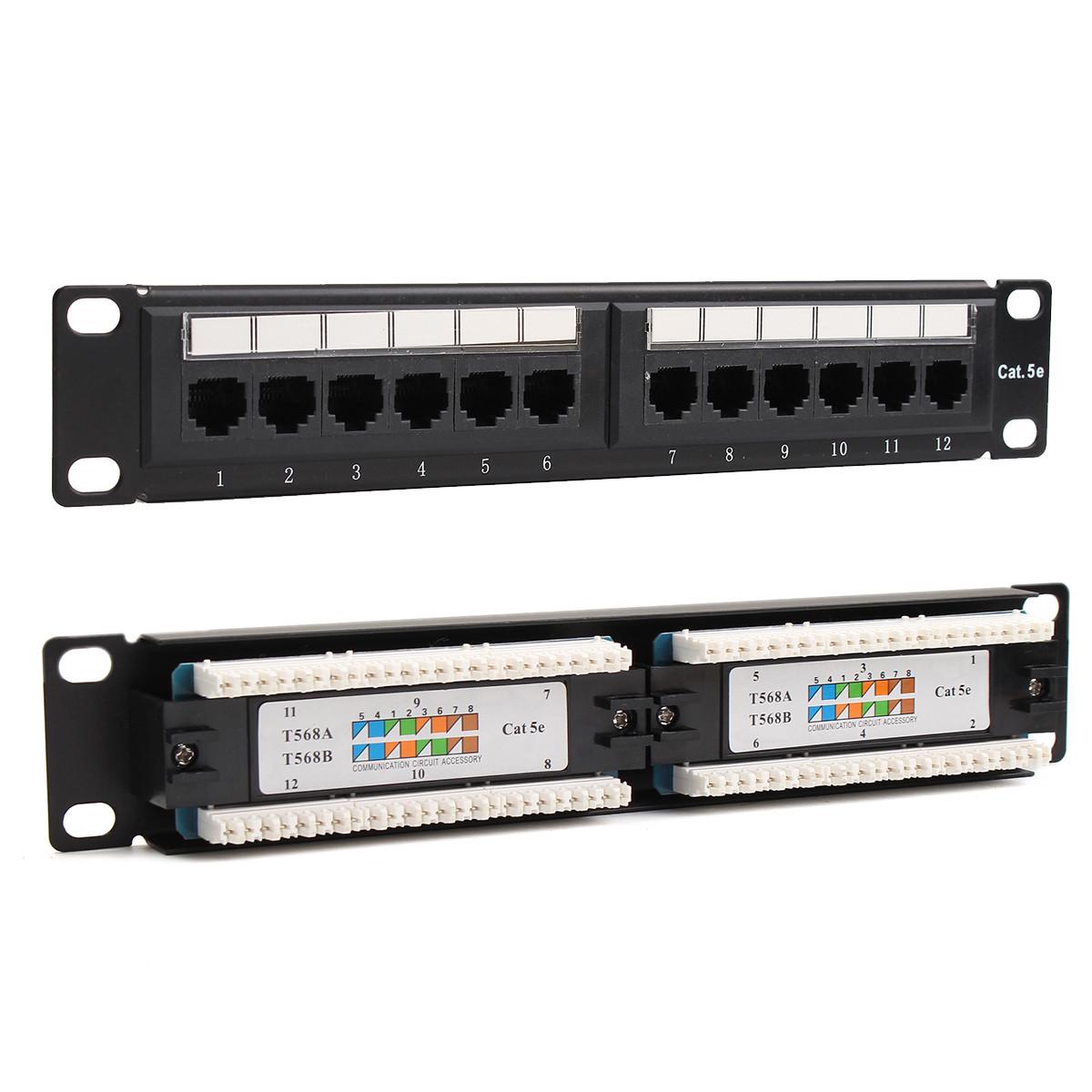 12 Port Cat6 Cat5 RJ45 Patch Panel Ethernet Network Rack Wall Mounted Bracket