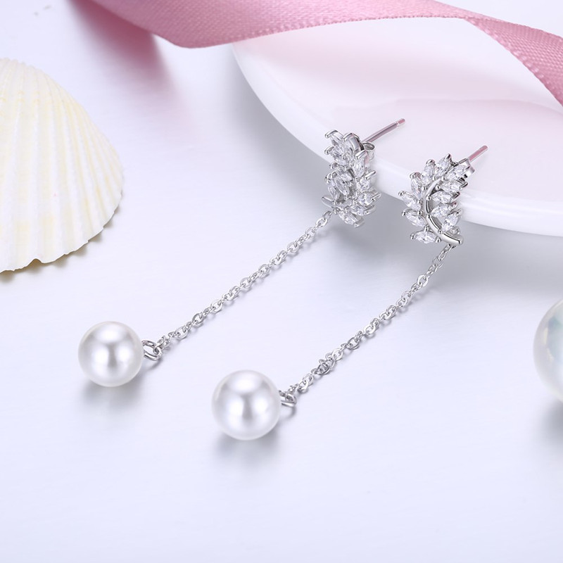 925 Sterling Silver Zircon Leaf Pearl Tassel Dangle Earring