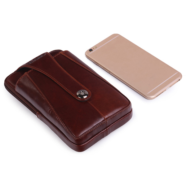 Men Genuine Leather Belt Loop Phone Pouch