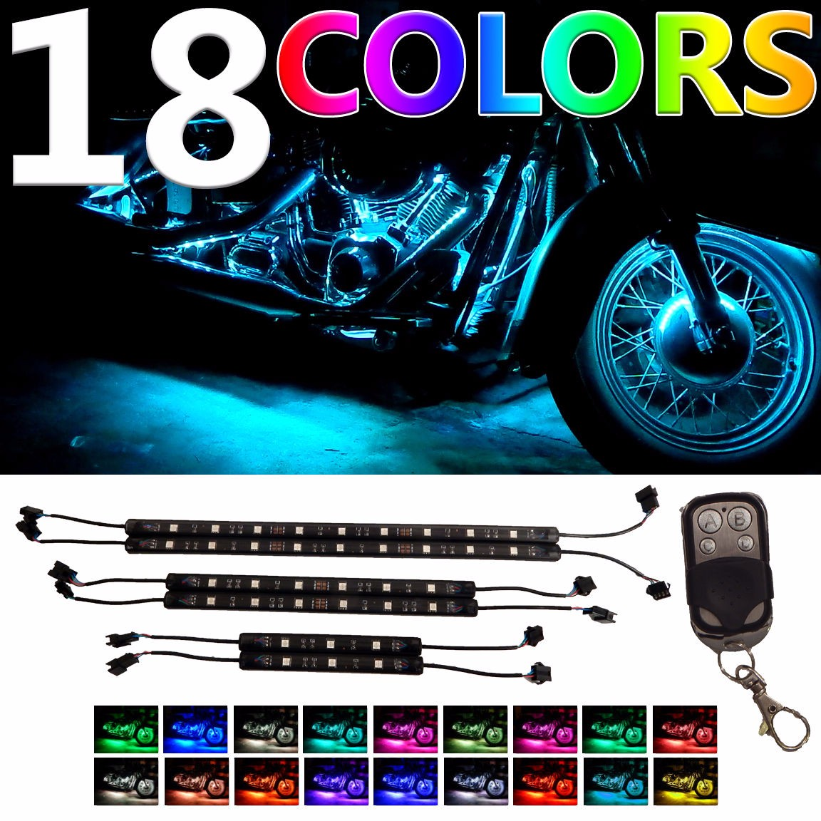 6Pcs 18 Colors Motorcycle LED Neon Flexible Strips Light Lighting Kit 2 Million