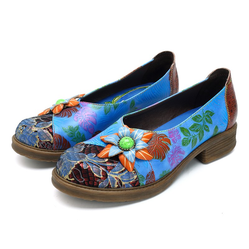 SOCOFY Retro Flower Soft Casual Leather Shoes