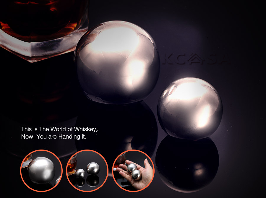 KCASA KC-ICW7 Whiskey Stone Set Reusable Food Grade Stainless Steel Wine Cooling Cube 50mm Ball