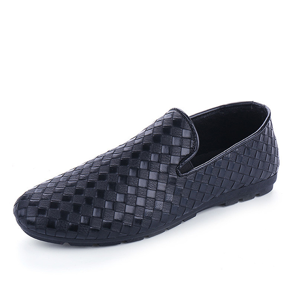 Men New Fashion PU Leather Woven Breathable Slip On Casual Driving Shoes Loafer