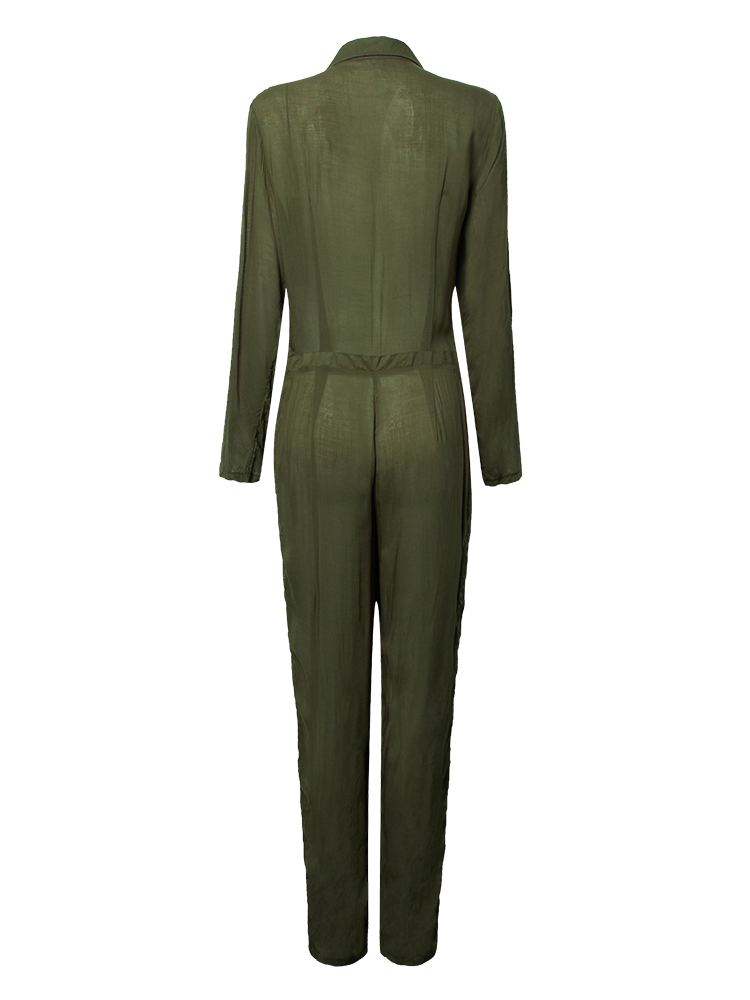 Casual Women Lapel Army green Button Pockets Long Romper Jumpsuit