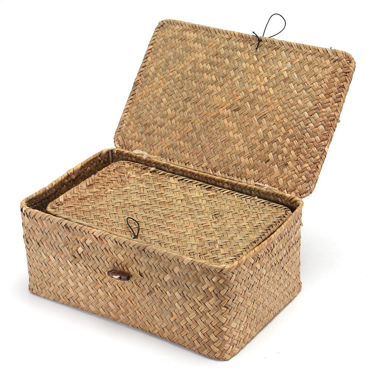 Wicker Woven Utility Storage Basket Box Organizer With Lid & Lock Multi-sized