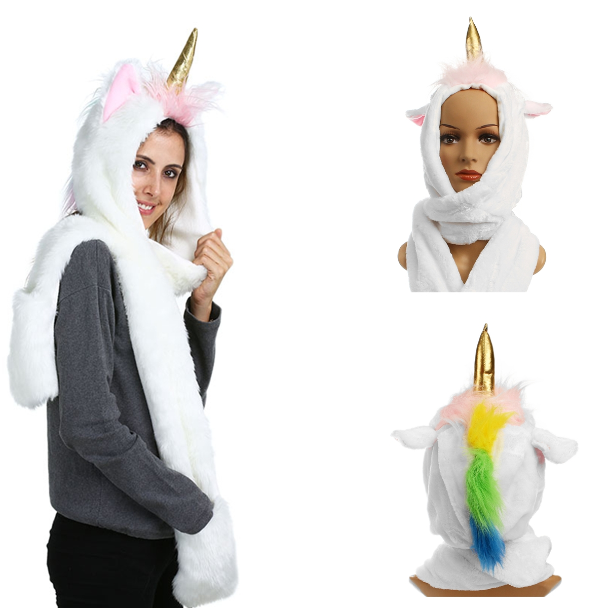 Women Girls Unicorn Plush Warm Hat Earmuffs Scarf Shawl Gloves Winter Christmas