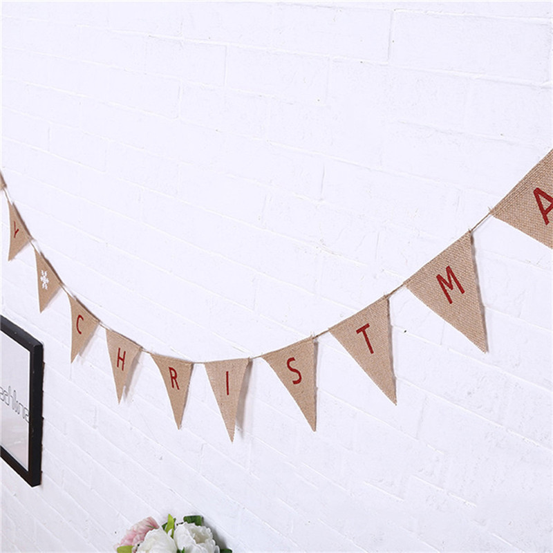 Merry Christmas Party Home Decoration Linen Banner Toys Ornament For Kids Children Gift