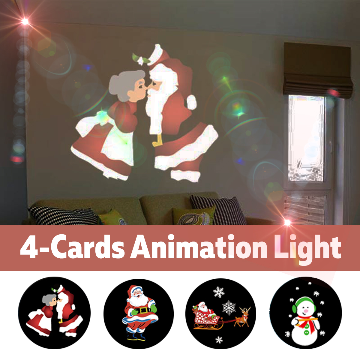 5W Dynamic LED Animation Light Waterproof Decoration Stage Lamp With 4 Slide Cards