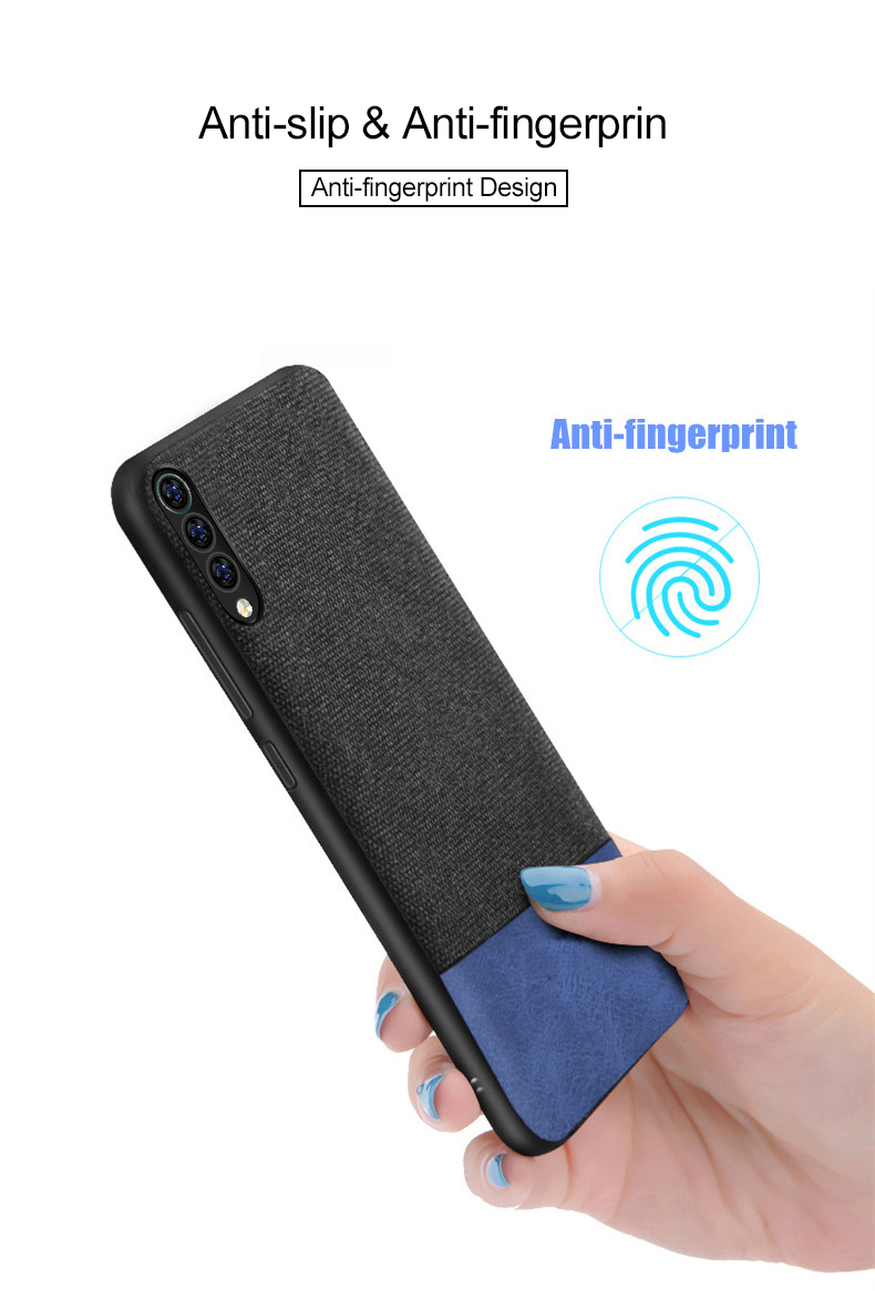 Bakeey Luxury Fabric Splice Soft Silicone Edge Shockproof Protective Case For Xiaomi Mi9 Mi 9 / Xiaomi Mi9 Mi 9 Transparent Edition
