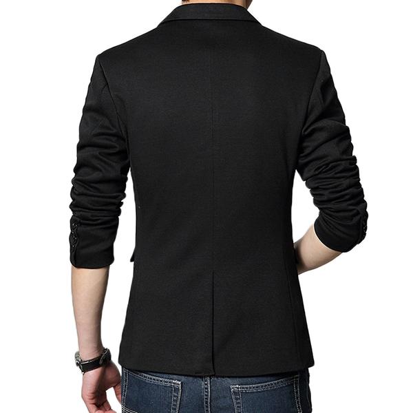 Fashion Casual Slits One Button Slim Fit Chic Men Suit Jacket Blazers