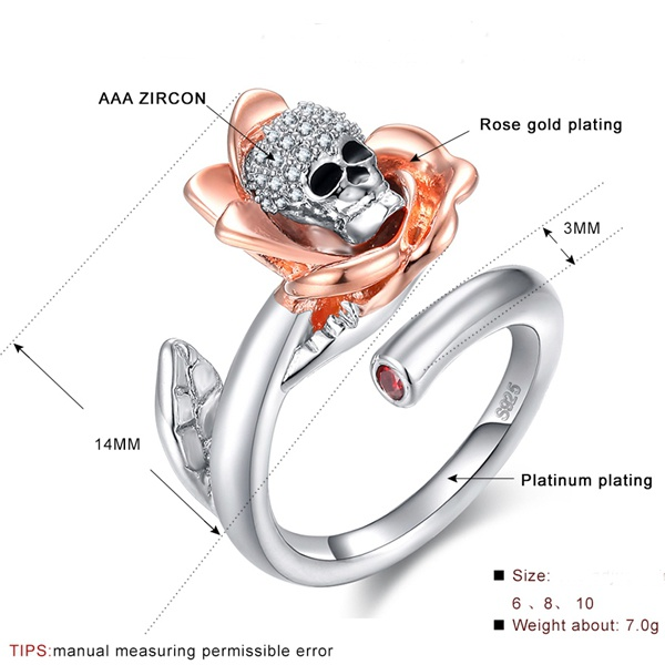Gothic Skull Rose Gold Zirconia Flower Adjustable Ring