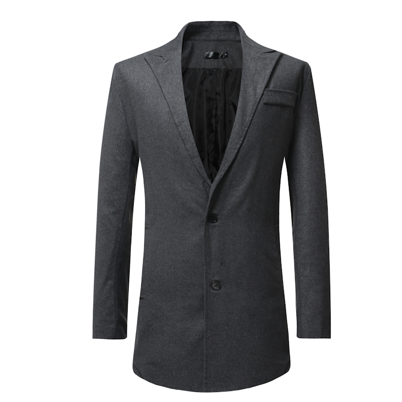 Mens Solid Color Single-Breasted Casual Suit Trench Coats