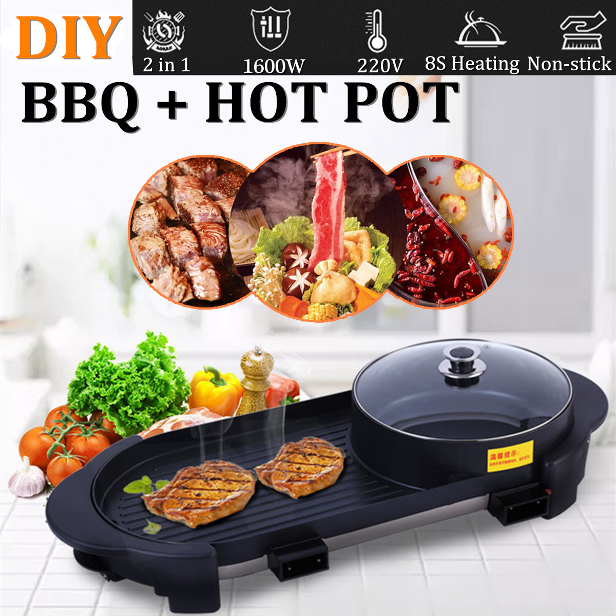 Large Household Electric Hot Pot Smokeless Non-stick Electric Barbecue Plate Multi-Function Barbecue Plate Machine