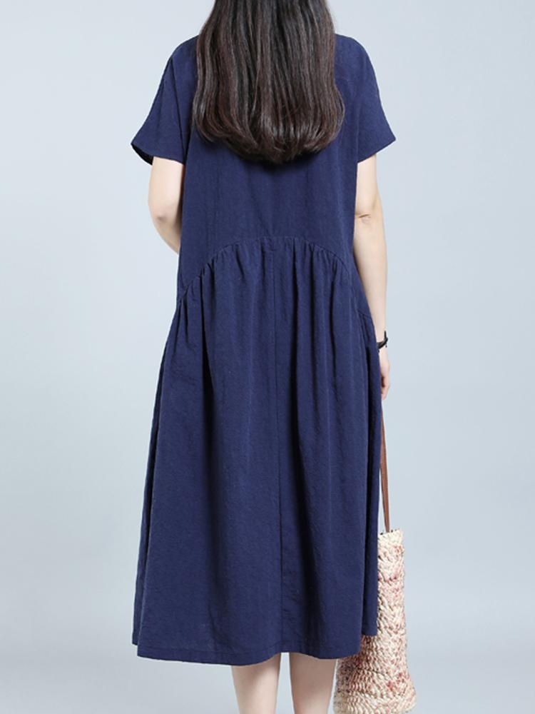 Women Vintage Solid Short Sleeve O-Neck Dress