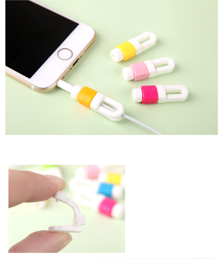 Earphone Cable Line Protector Organizer Charger Data Line Cord Protection For iPhone Random Color