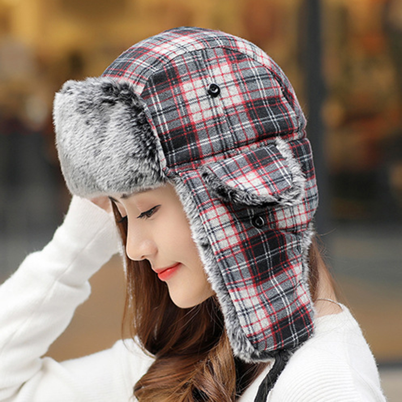 Mens Womens Plaid Plus Velvet Earmuffs Ushanka Trapper Hat